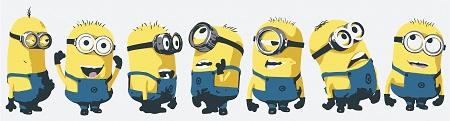 המיניונים   minions - תמונה על קנבס,מוכנה לתליה.המיניונים  The original minions  אנימציה