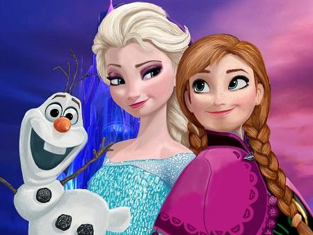 frozen elsa and anna - תמונה על קנבס,מוכנה לתליה.frozen elsa and anna  אנימציה