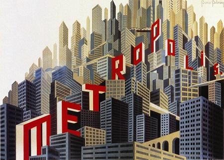 מטרופוליס  Metropolis  - תמונה על קנבס,מוכנה לתליה.מטרופוליס  Metropolis