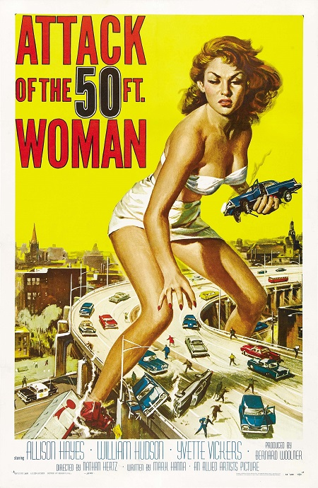 Attack of the 50 Foot Woman - תמונה על קנבס,מוכנה לתליה.סרטים ישנים Attack of the 50 Foot Woman - תמונה על קנבס,מוכנה לתליה.