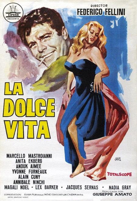 סרטים ישנים לה דולצ'ה ויטה   -  פדריקו פליני  -   La dolce vita - תמונה על קנבס,מוכנה לתליה.