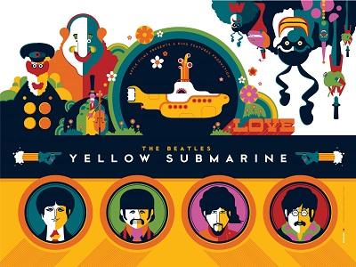 החיפושיות Yellow Sabmarine  The Beatles  - תמונה על קנבס,מוכנה לתליה.החיפושיות Yellow Sabmarine  The Beatles