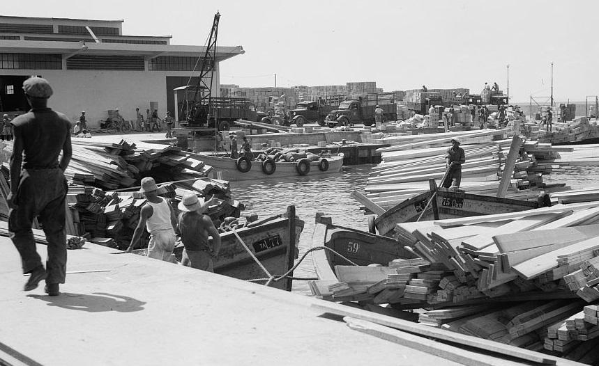 נמל תל אביב  - תמונה על קנבס,מוכנה לתליה.נמל תל אביב
