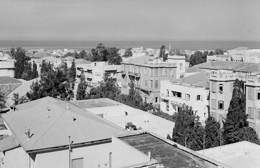 גגות וים - תל אביב  - תמונה על קנבס,מוכנה לתליה.גגות וים - תל אביב